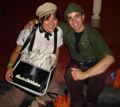 Peter Pan and a Newsie at Mickey's Not-so-scary Halloween Party.