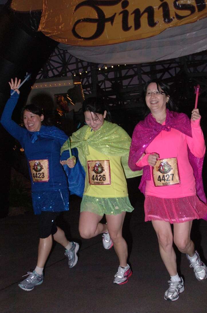 Me, Jen and Mom at the Neverland 5K.