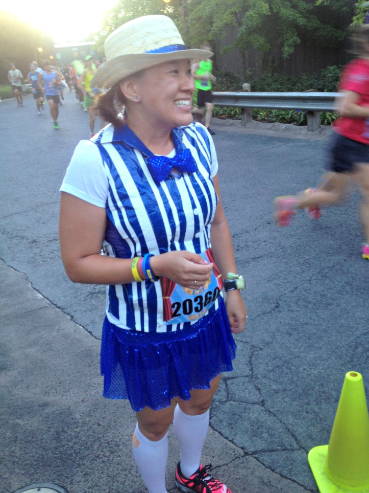 Waiting to get my pic taken during the Disneyland 10K.